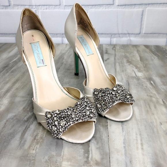 Betsey Johnson Shoes - Betsey Johnson Rhinestone White Wedding Shoes 9